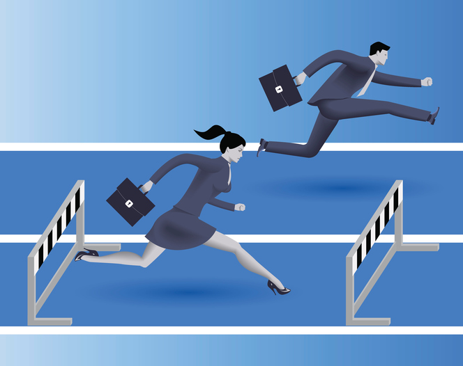 Gender inequality on career path business concept. Business lady runs against businessman on career path, but fails because on her side of path there are a lot of obstacles. Gender differences.
