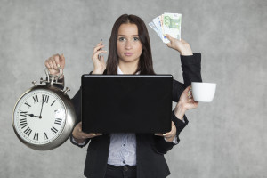 businesswoman multitasking
